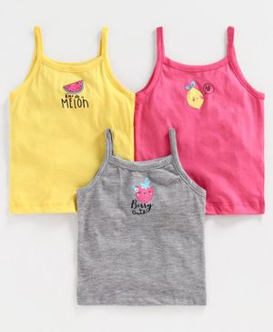 Babyoye Singlet Sleeves Slip Fruit Patch Pack of 3 - Yellow Pink Grey