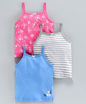 Babyoye Cotton Slips Pack of 3 - Pink Grey Blue