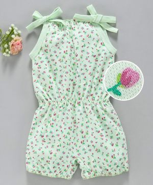 Baby Naturelle & Me Singlet Sleeves Jumpsuit Floral Print - Green