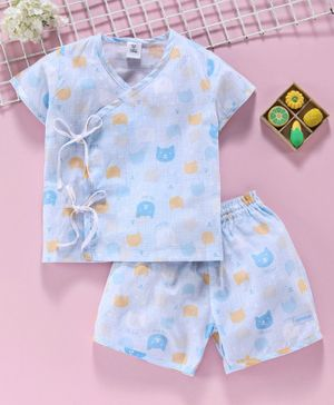 ToffyHouse Short Sleeves Night Suit Cat Print - Blue
