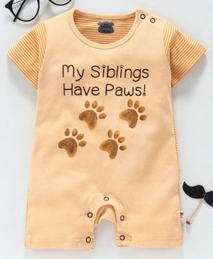 Mini Taurus Short Sleeves Romper Paw Print - Light Brown