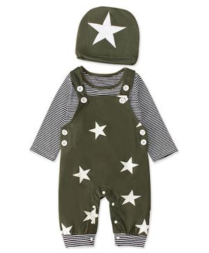 Pre Order - Awabox Striped Full Sleeves T-Shirt With Star Print Dungaree Style Romper & Cap - Green