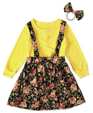 Pre Order - Awabox Solid Full Sleeves Top With Floral Print Skirt & Rubber Band - Yellow