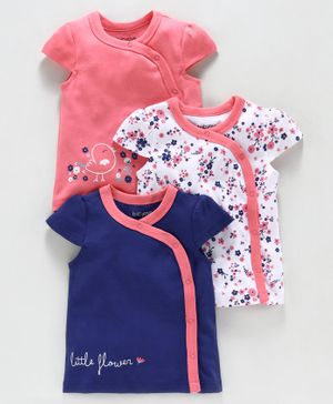 Babyoye Cap Sleeves Cotton Vest - Pink White Indigo Blue