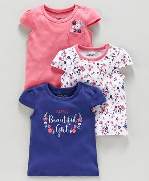 Babyoye Cap Sleeves Top Floral Print Pack of 3 - Pink Indigo White