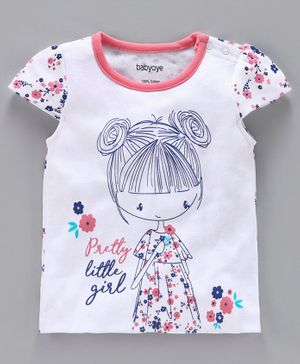 Babyoye Cap Sleeves Top Pretty Girl Print - White