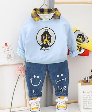 Pre Order - Awabox Dog Print Full Sleeves Sweatshirt With Denim Jeans - Light Blue