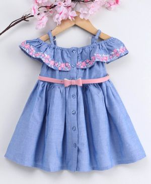 Babyhug Cold Shoulder Frock with Bow Belt Floral Embroidery - Blue