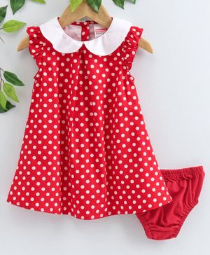 Babyhug Flutter Sleeves Frock with Bloomer Polka Dot Print - Red
