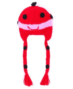 MayRa Knits Face Pattern Crochet Woolen Cap - Red