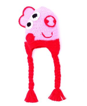 MayRa Knits Eyes Pattern Woolen Crochet Cap - Red & Pink