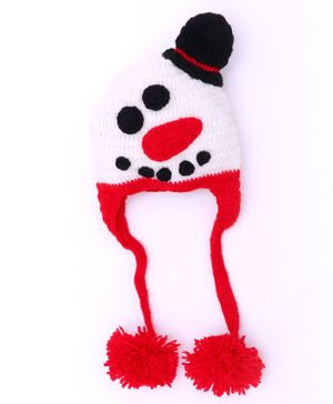 MayRa Knits Snow Man Face Pattern Woolen Cap - White