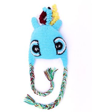 MayRa Knits Eyes Pattern Crochet Woolen Cap - Blue