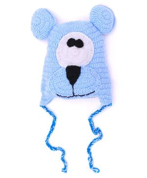 MayRa Knits Teddy Bear Cap - Blue