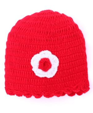 MayRa Knits Flower Design Cap - Red