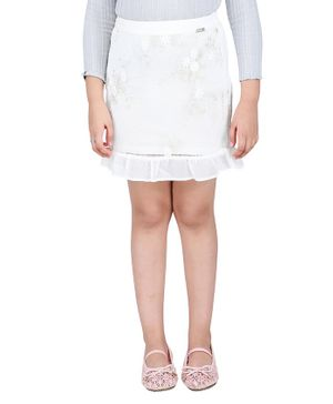 One Friday Flower Embroidered Frill Skirt - Off White