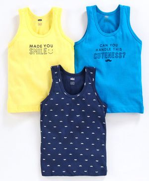 Simply Printed Sleeveless Vest Pack of 3 - Blue Yellow