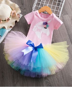 Pre Order - Awabox Unicorn Printed Half Sleeves Onesie With Tutu Skirt & Rose Headband - Multi Colour