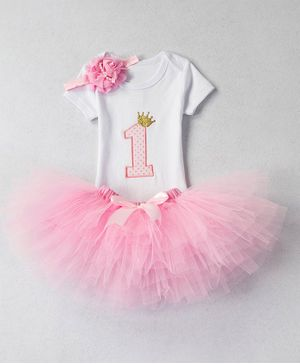 Pre Order - Awabox Number One Patch Detailed Half Sleeves Onesie With Tutu Skirt & Flower Headband - Baby Pink