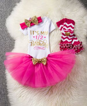 Pre Order - Awabox It's My 1/2 Birthday Print Half Sleeves Onesie With Bow Decorated Netted Skirt Headband & Legwarmer  - Pink