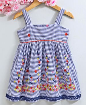 Babyhug Singlet Neck Striped Frock Floral Embroidered - Blue