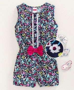 Babyhug Sleeveless Jumpsuit Floral Print - Navy Blue