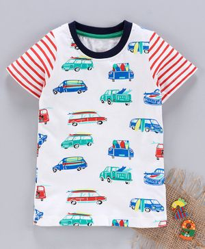Kookie Kids Half Sleeves Tee Allover Vehicle Print - White