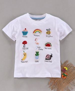 Kookie Kids Half Sleeves Tee Multi Patch - White
