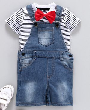 Kookie Kids Solid Dungaree with Striped Inner Tee & Bow - Blue