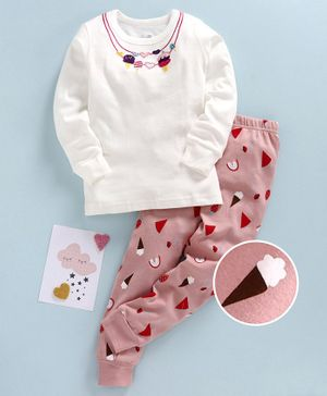 Kookie Kids Full Sleeves Night Suit Ice Cream Patch - White Pink