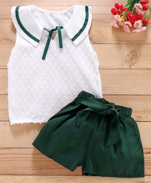 Kookie Kids Sleeveless Sailor Collar Top And Shorts - White Green