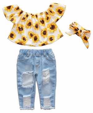 Kookie Kids Cap Sleeves Top with Jeans & Headband - Yellow Blue
