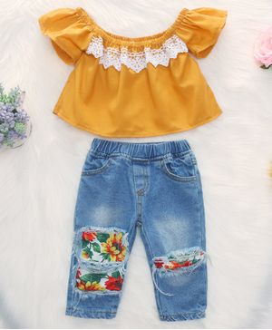 Kookie Kids Top And Jeans Lace Detail & Sunflower Print - Mustard Yellow