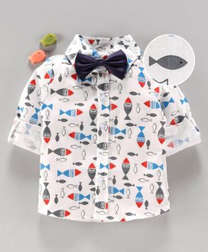 Kookie Kids Full Sleeves Shirt with Bow Fish Print - White