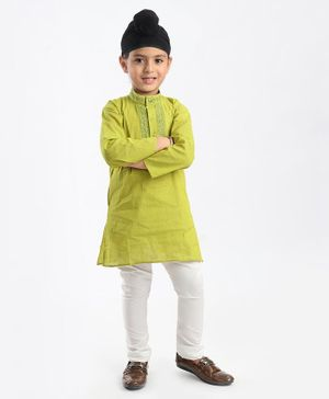 Babyhug Full Sleeves Kurta & Pyjama Set - Green& White