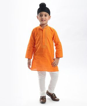 Babyhug Full Sleeves Kurta & Pyjama Set - Orange & White