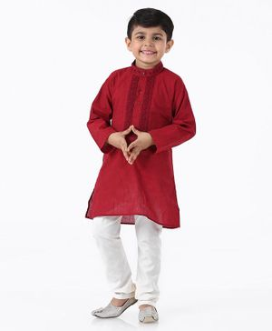 Babyhug Full Sleeves Kurta & Pajama Set - Red White