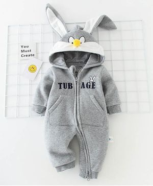 Pre Order - Awabox Bunny Style Full Sleeves Hooded Romper - Grey