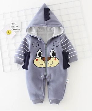 Pre Order - Awabox Bear Patch Full Sleeves Hooded Romper - Grey