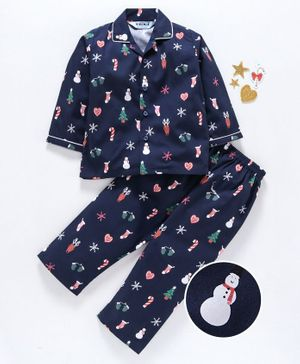 Enfance Core Snow White Printed Full Sleeves Night Suit - Navy Blue