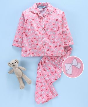 Enfance Core Bow Printed Full Sleeves Night Suit - Peach