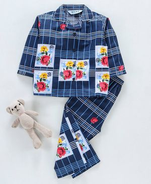 Enfance Core Checkered & Flower Printed Full Sleeves Night Suit  - Blue