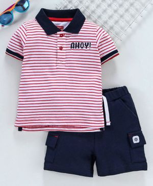 Babyhug Half Sleeves Striped Tee with Shorts - Red White Navy Blue