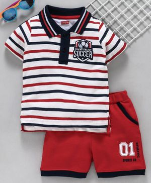 Babyhug Half Sleeves Tee with Shorts Stripe Print - Red Navy