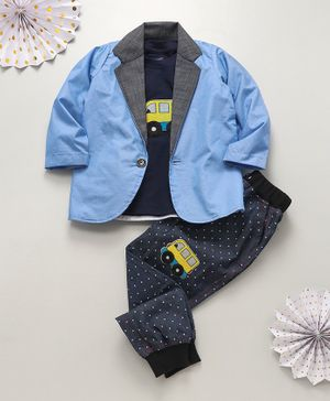 Knotty Kids Bus Patch T-Shirt With Full Sleeves Jacket & Pants - Blue