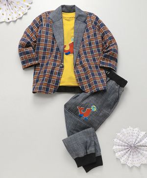 Knotty Kids Seal Fish Patch T-Shirt With Checked Full Sleeves Jackets & Pants - Mustard Yellow