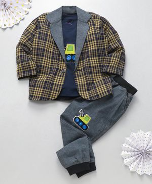 Knotty Kids Bulldozer Patch T-Shirt With Checked full Sleeves Jacket & Pants - Yellow