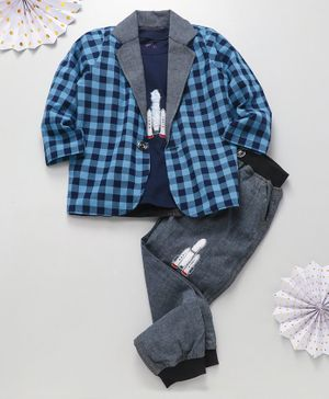 Knotty Kids Rocket Patch T-Shirt With Checked Full Sleeves Jacket & Pants - Blue