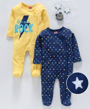 Babyhug Full Sleeves Footed Sleepsuits Rock & Stars Printed Pack of 2 - Blue Yellow