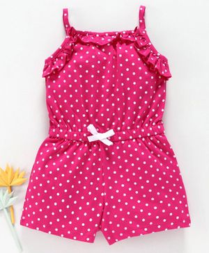 NEXT Gorgeous Bright Pink Spot Playsuit and Matching Hat 3-6 Months NWT